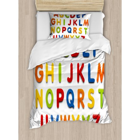 Letter Writing Set - Letters Twin Size Duvet Cover Set, Multicolored Collection of Alphabet Letters Education Image Capital Symbols Writing, Decorative 2 Piece Bedding Set with 1 Pillow Sham, Multicolor, by Ambesonne