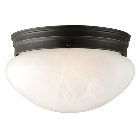 Hunter Oil Rubbed Lighting - Design House 514539 Millbridge 2-Light Ceiling Light, Alabaster Glass, Oil Rubbed Bronze
