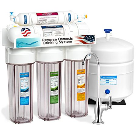 Express Water 5 Stage Under Sink Reverse Osmosis Filtration System 50 GPD RO Membrane Filter Deluxe Faucet Clear Housing Ultra Safe Residential Home Drinking Water Purification One Year