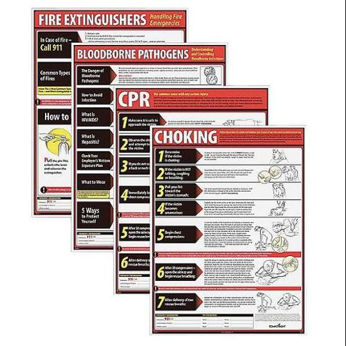 COMPLYRIGHT Poster Kit,Eng,Fire Ext/CPR/BBP/Choking WR0242