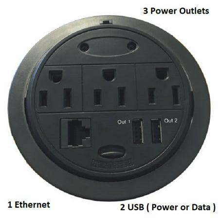 Home 'n' Office PowerTap Grommet Desk Outlet Table - Hidden Power Center (3 Power/1 Ethernet/2 USB (Power or Data))](Medford Outlet Center)