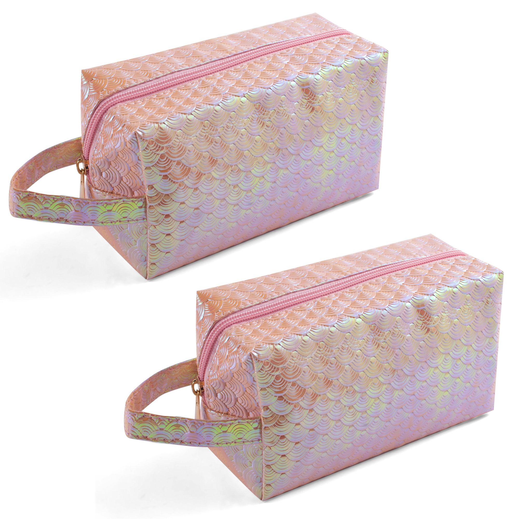 Cosmetic bag by Zodaca 2-pack Women Hanging Cosmetic Makeup Organizer Travel Bag Traveling Toiletry Make up Pencil Case Zip Pouch - Coral Shiny Mermaid