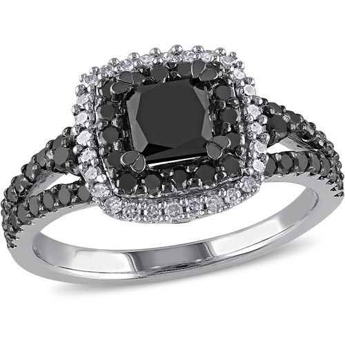 1-1/2 Carat T.W. Princess with Round-Cut Black and White Diamond Sterling Silver Double Halo Engagement Ring