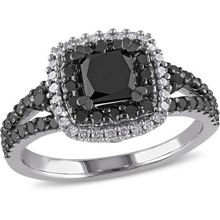 1 1 2 Carat T W  Princess With Round Cut Black And White Diamond Sterling Silver Double Halo Engagement Ring