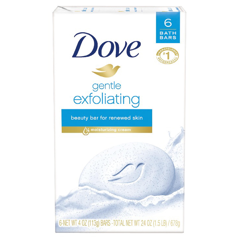 Dove Gentle Exfoliating Beauty Bar, 4 oz, 6 Bar