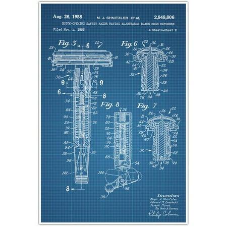Barber Shop Patent Blueprint , Razor Photo Art - Blue Draft