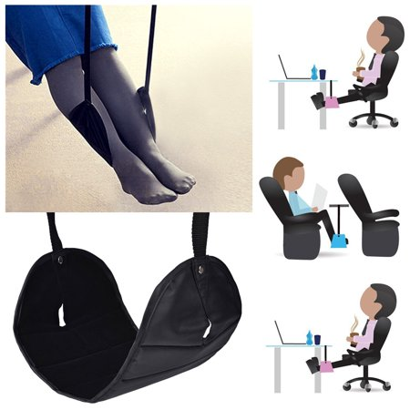 Foot Rest  Iclover Portable Travel Footrest Flight Carry On Warm Foot Rest Travel Accessories Office Working Desk Home Wool Footrest Foot Hammock Black