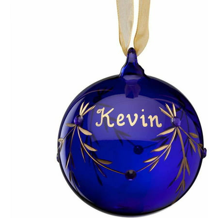 Personalized Glass Christmas Ornament - September Sapphire Birthstone
