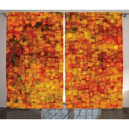 Orange Curtains 2 Panels Set, Vintage Mosaic Background with Quadratic  Little Geometric Squares Faded Decorative, Living Room Bedroom Decor,  Orange ...