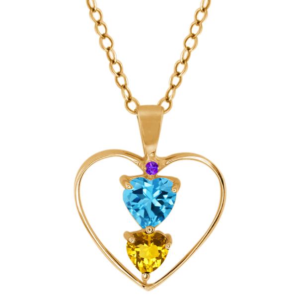 0.80 Ct Heart Shape Swiss Blue Topaz Yellow Citrine 14K Yellow Gold Pendant