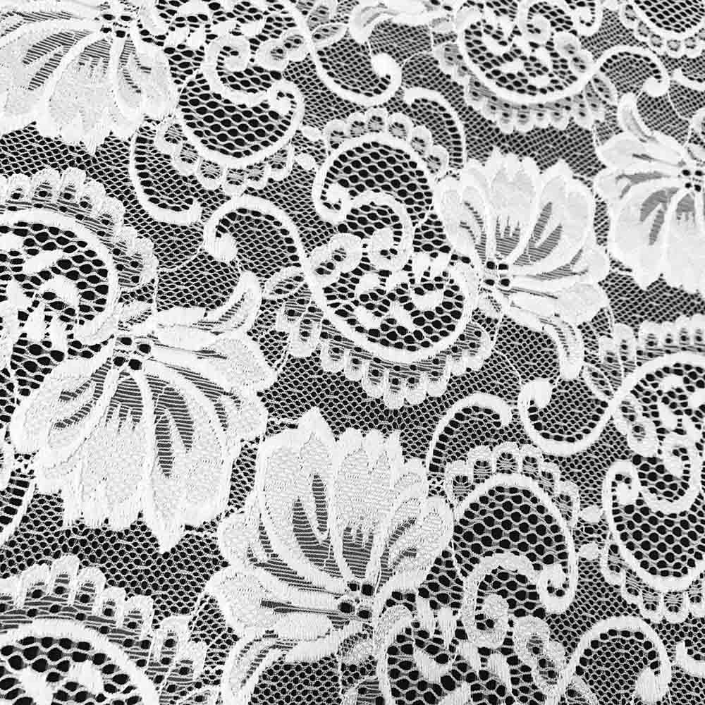 "Stretch Lace Fabric Embroidered Poly Spandex French Floral Victoria 58"" Wide by the yard (White)"