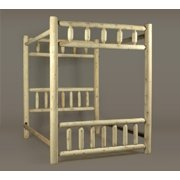 """80"""" Cedar Log-Style Wooden Handcrafted Double Canopy Bed Frame"""