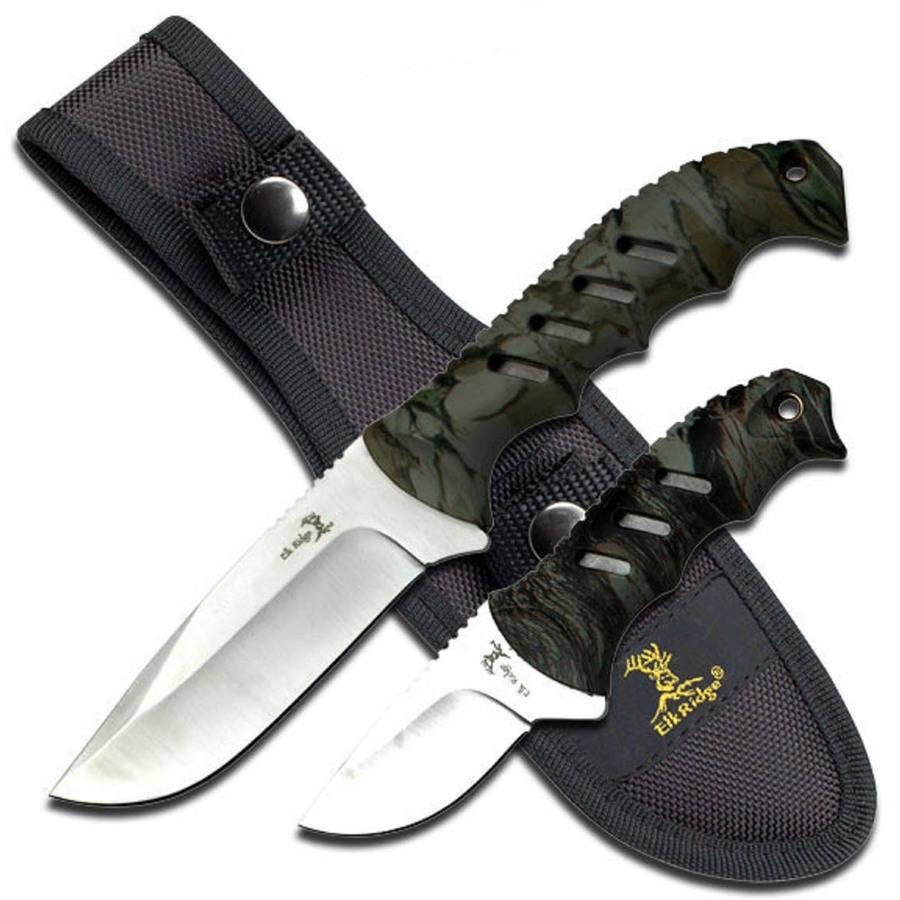 "Elk Ridge Fixed-Blade Knife Set, 4.35"" and 2.5"" Blades"