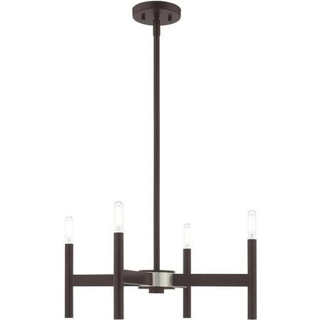 """Mini Chandeliers 4 Light Fixtures With Bronze Finish Steel Material Candelabra 20"""" 240 Watts"""