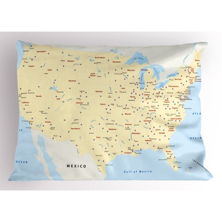 Map Pillow Sham United States Interstate Map America Cities Travel Destinations Road Route, Decorative Standard Size Printed Pillowcase, 26 X 20 Inches, Yellow Red Pale Blue, by Ambesonne