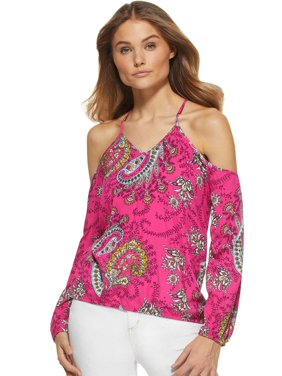 Printed Cold Shoulder Crossover Keyhole Top Women's