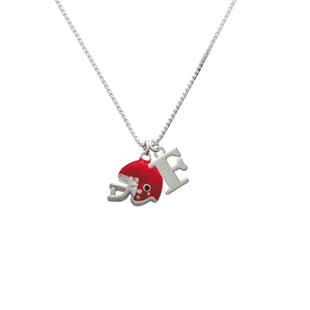 Silvertone Small Red Football Helmet - F - Initial Necklace