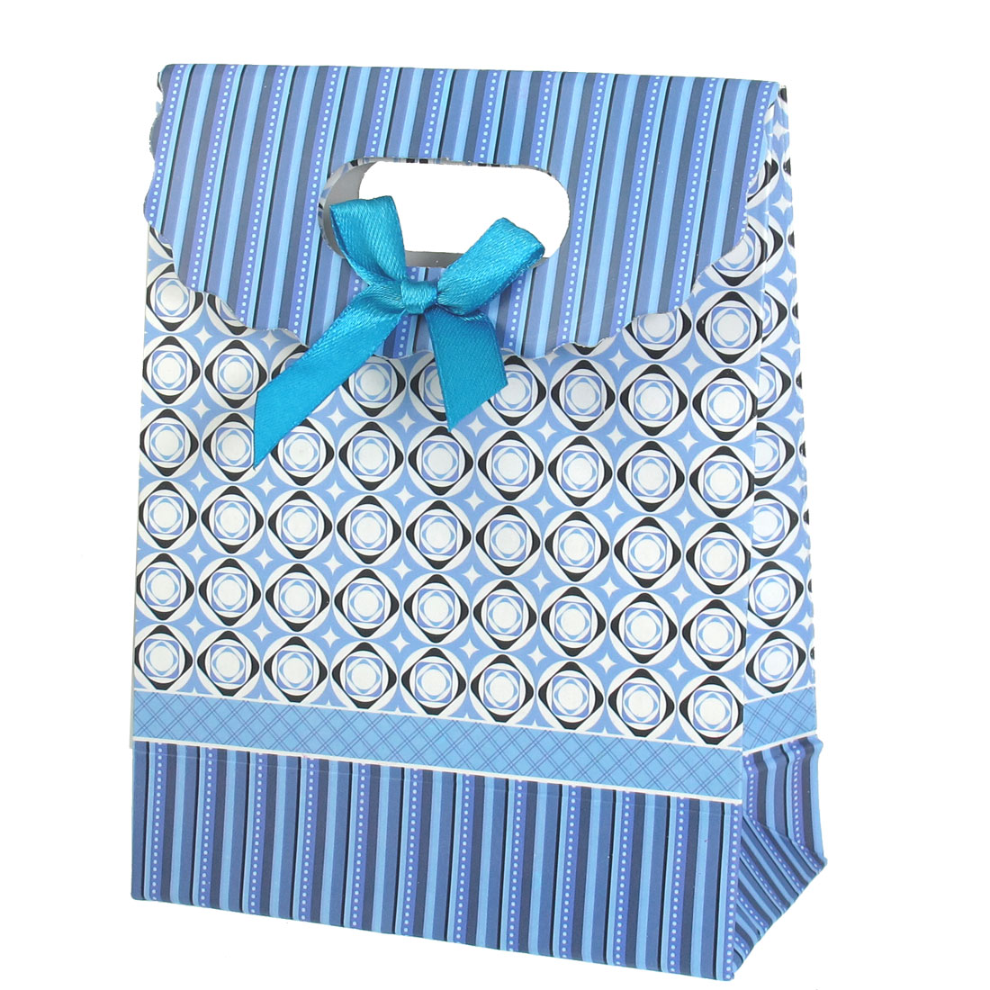 Blue 16.4 x 12.4 x 6cm Bowtie Accent Hook Loop Closure Foldable Paper Gift Bag
