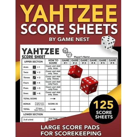 Yahtzee Score Sheets: 125 Large Score Pads for Scorekeeping - 8.5