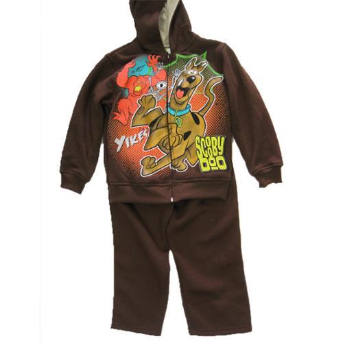 Scooby Doo Little Boys Brown Cartoon Print Hooded Jacket 2 Pc Pants Set 4-7