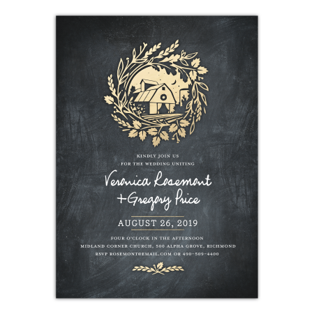 Personalized Wedding Invitation - Vintage Barn - 5 x 7