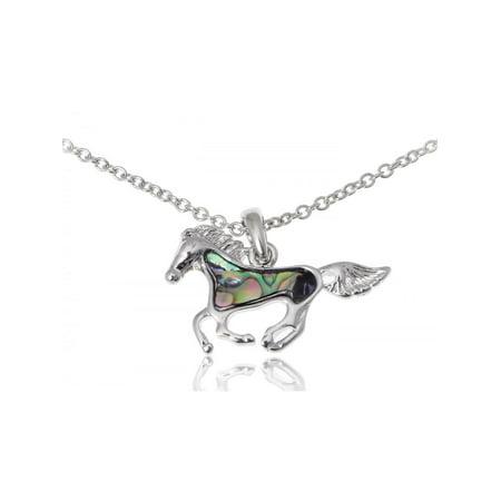 - Cute Silver Tone Faux Abalone Shell Body Racing Race Horse Adj Fashion Necklace