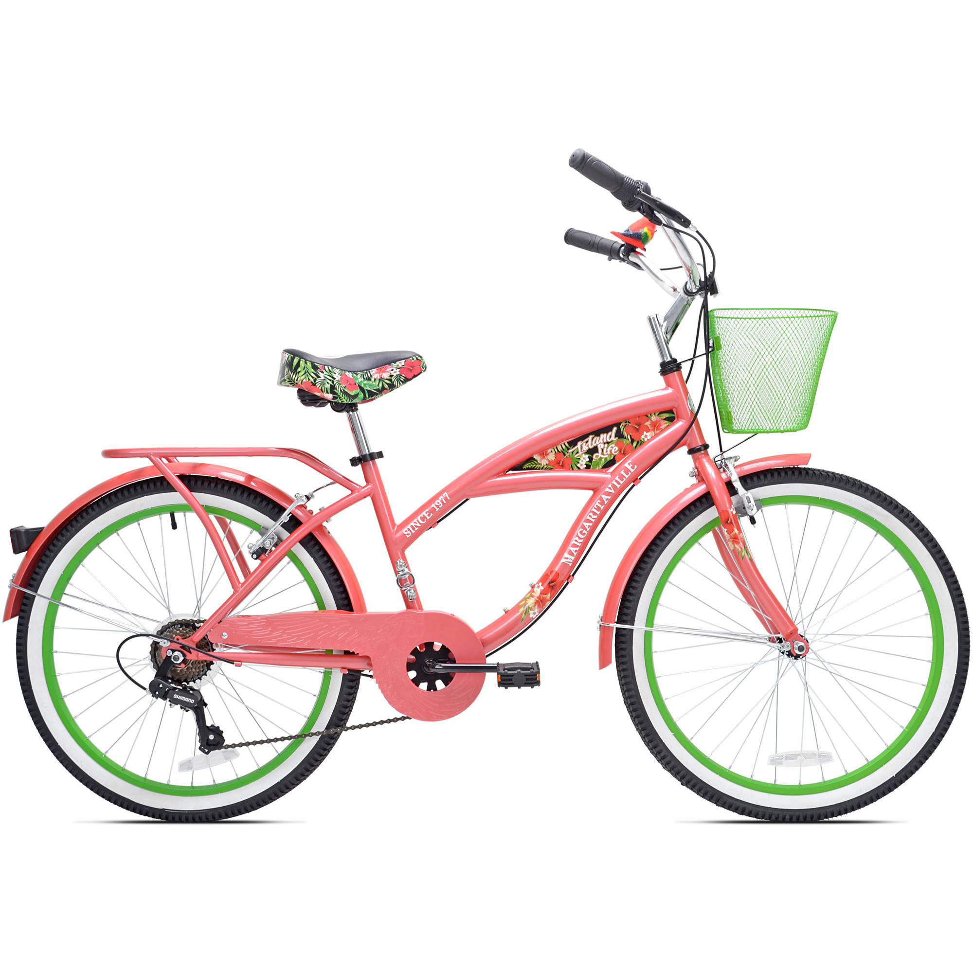 "24"" Girls Margaritaville Island Life Multi Speed Bicycle, Coral/Green"