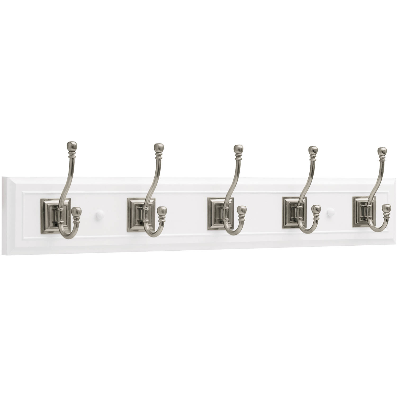 "Brainerd 27"" Architectural Rail with 5 Architectural Hooks, Flat White and Satin... by Generic"