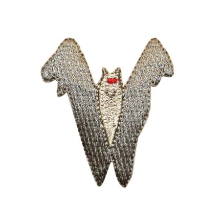 ID 0930 Silver Vampire Bat Patch Halloween Scary Embroidered Iron On Applique (Scary Halloween Bat Drawings)