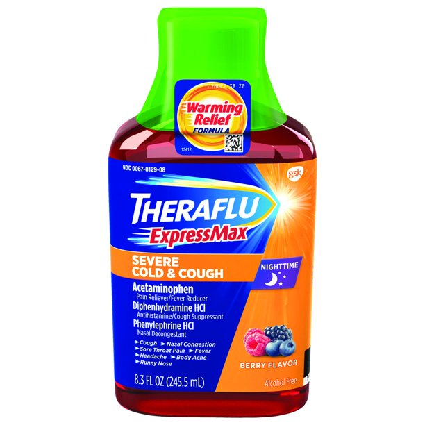 Theraflu ExpressMax Nighttime Severe Cold & Cough Relief Syrup, Berry Flavor, 8.3 oz