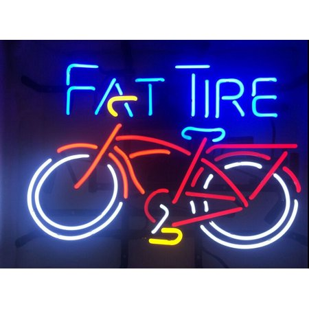 Desung Brand New Fat Tire Neon Sign Lamp Glass Beer Bar Pub Man Cave Sports  Store Shop Wall Decor Neon Light 24