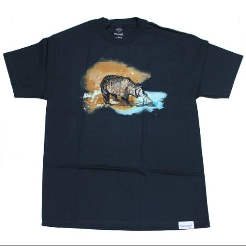 DIAMOND SUPPLY Skateboard T Shirt WATERCOLOR NAVY sz XL