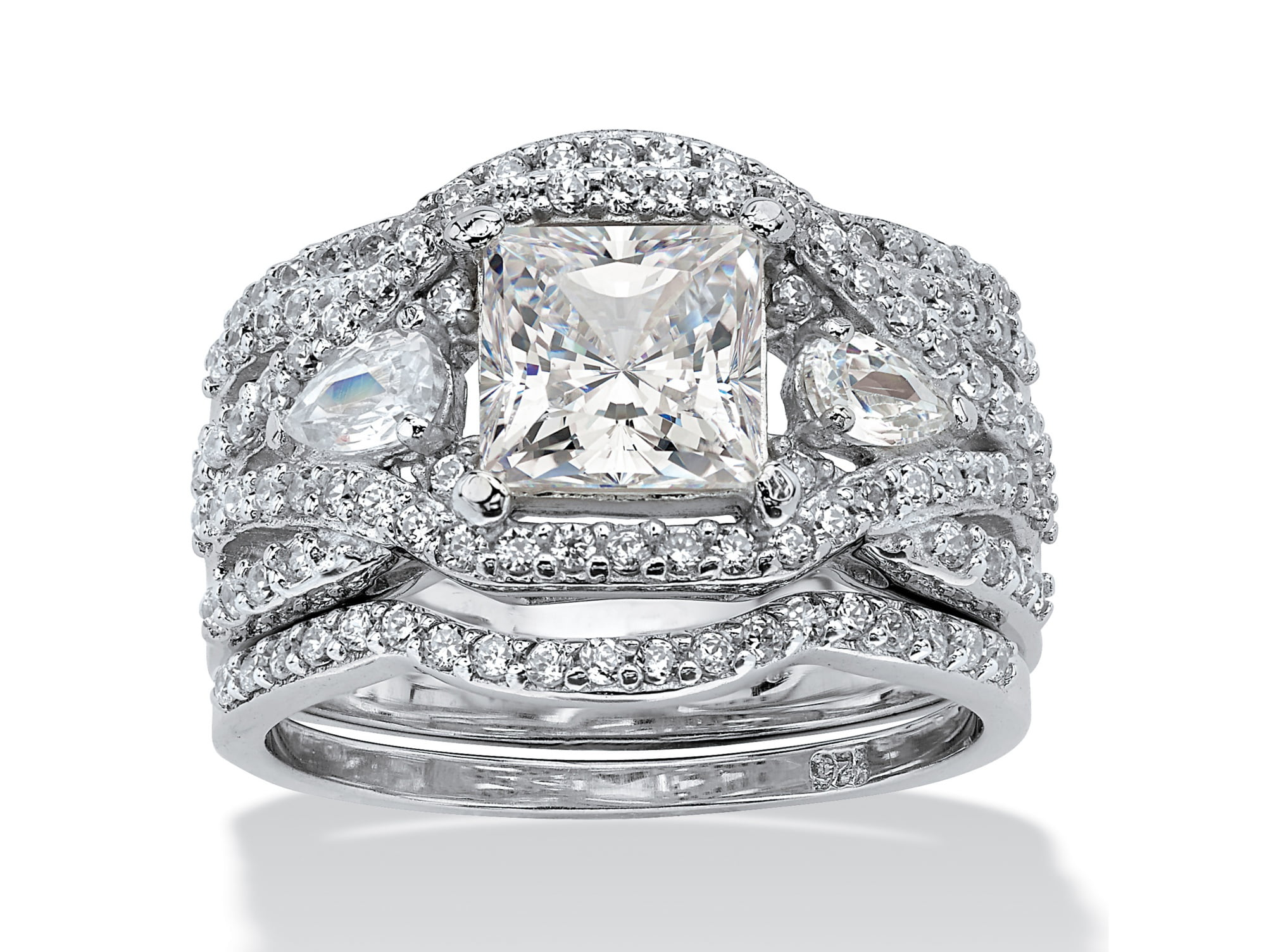 3.12 TCW Princess-Cut Cubic Zirconia Platinum over Silver 3-Piece Crossover Bridal Ring Set by PalmBeach Jewelry