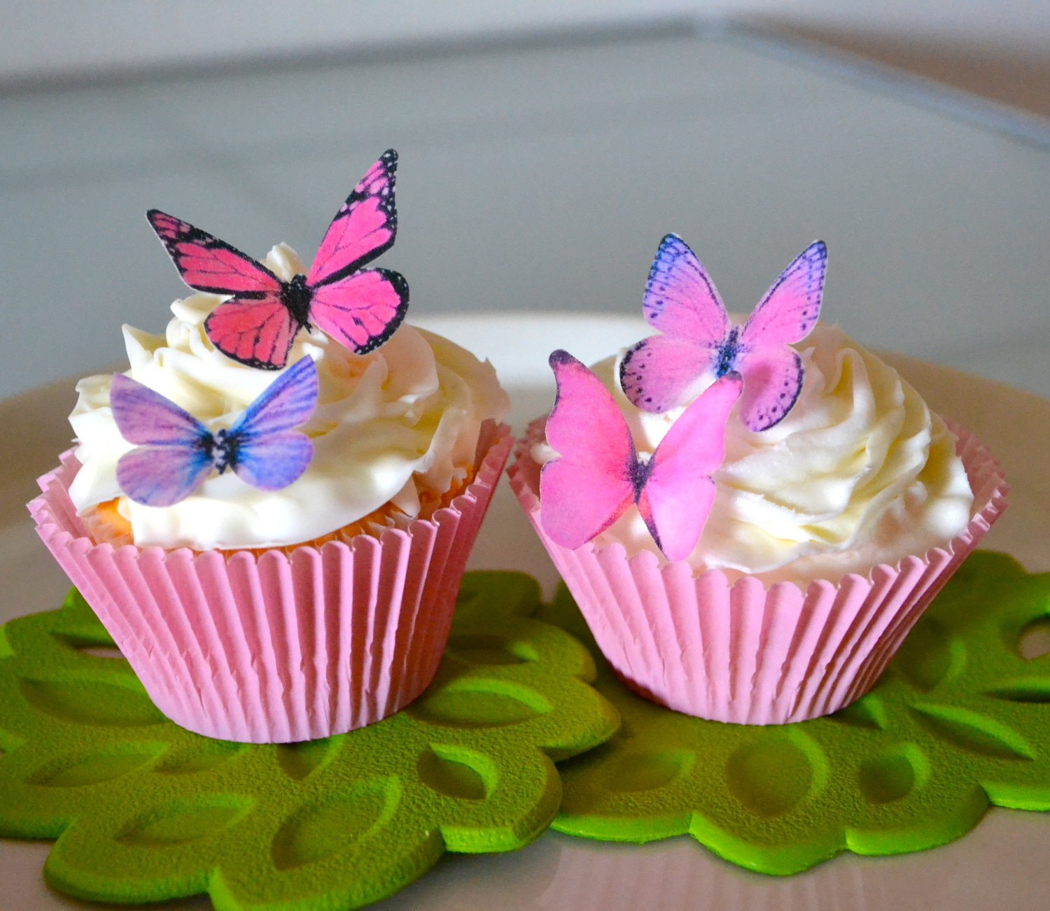 EDIBLE BUTTERFLY Pastel Pink set 12  Cake Toppers Wedding Toppers