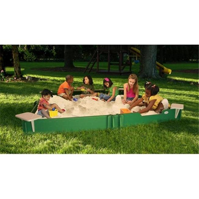 SandLock CSG-120120 10 X 10 Sandbox With 4 Corner Seats- 1 Bench Seat- Ground Barrier And 1 Umbrella Bracket by Sandlock