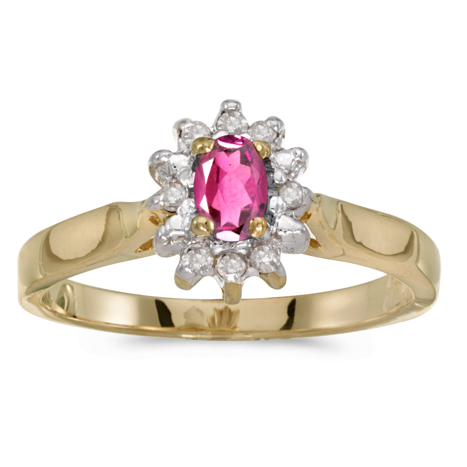 14k Yellow Gold Oval Pink Topaz And Diamond Ring by