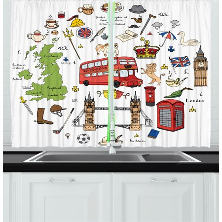 Halloween Wall Coverings Uk (Travel Curtains 2 Panels Set, Hand Drawn Famous Tourist Places Big Ben London UK British Monuments Illustration, Window Drapes for Living Room Bedroom, 55W X 39L Inches, Multicolor, by)