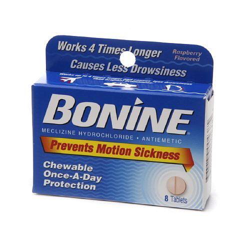 Bonine Motion Sickness Prevention Raspberry Chewable Tablets 8 Each