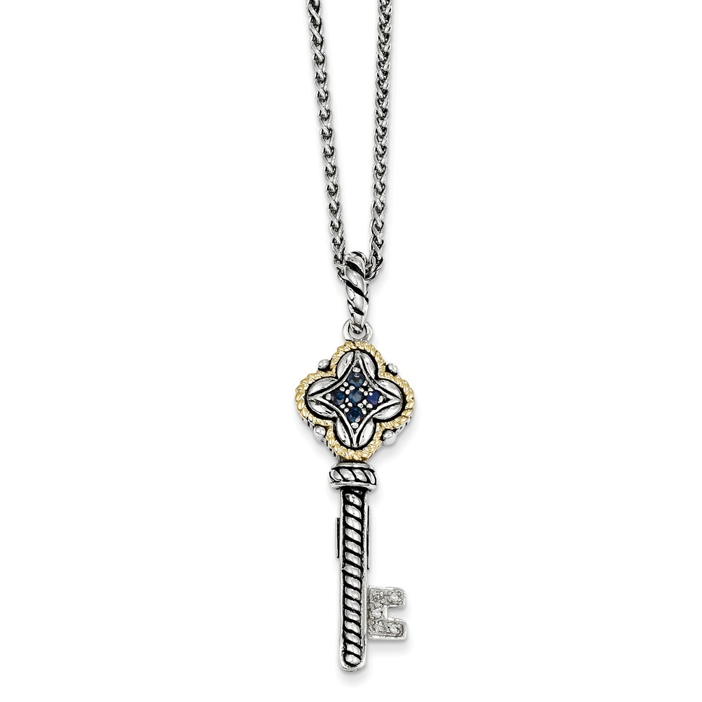 SS 14k Yellow Gold .27ct Sap./.03ct Diamond Key Vintage Style Necklace 0.306ct