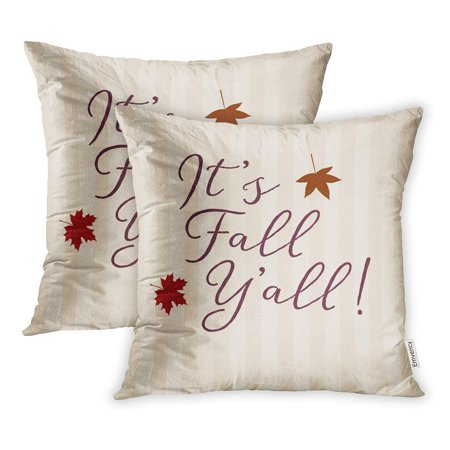 CMFUN The Expression It Fall Y All Writtern in Modern Falling Leaf Graphics Pillowcase Cushion Cases 20x20 inch Set of 2
