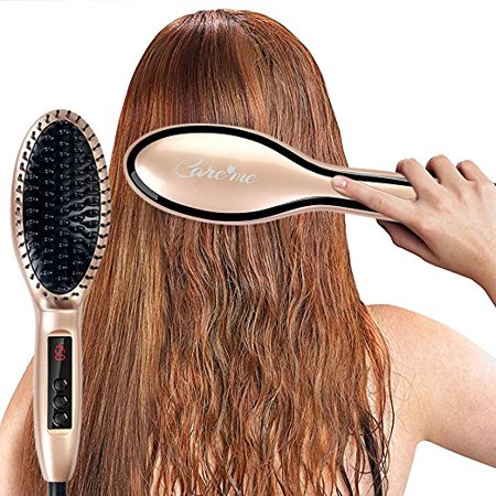 Electric Ceramic Hair Straightening Brush for Beauty Salon Hairstyling -MCH Technology Heats Fast -Get Frizz-Free, Smooth, Straight, Shiny & Healthy Hair - Best Holiday Gift for