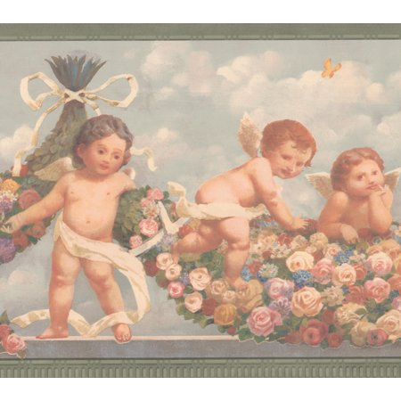 Cherub Babies in Heaven Pink Red Yellow Roses Faith Religious Wallpaper Border Retro Design, Roll 15' x 9''