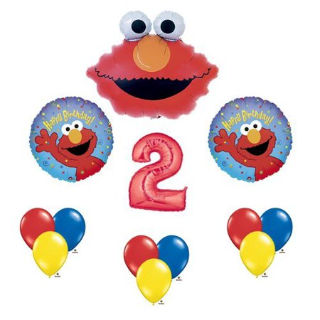Elmo Sesame Street #2 2nd Second Birthday Party Supply Balloon Mylar Latex Set by, (1) 34 Giant Red Number 2 Foil Balloon By Anagram (Giant Number 2)