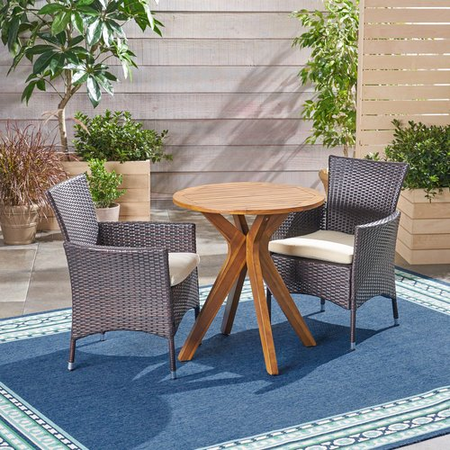 Bungalow Rose Maas Outdoor 3 Piece Bistro Set with Cushions
