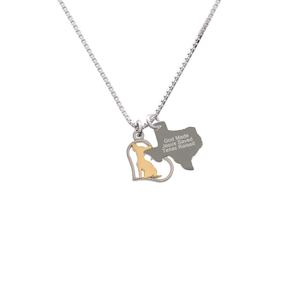 Delight Two-tone Chihuahua Silhouette Heart - Engraved Te...