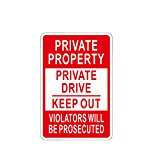 ALEKO Aluminum Private Property No Trespassing Sign - Metal Signs Wholesale