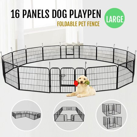 "Topeakmart 16 Panel Metal Cage Crate Pet Dog Cat Fence Exercise Playpen Kennel 24""H"