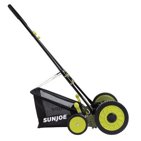 Sun Joe MJ501M Manual Reel Mower W/ Grass Catcher | 18 inch