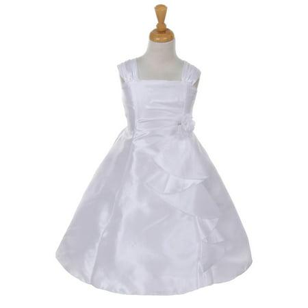 Cinderella Couture Little Girls White Taffeta Corsage Flower Girl Dress 4