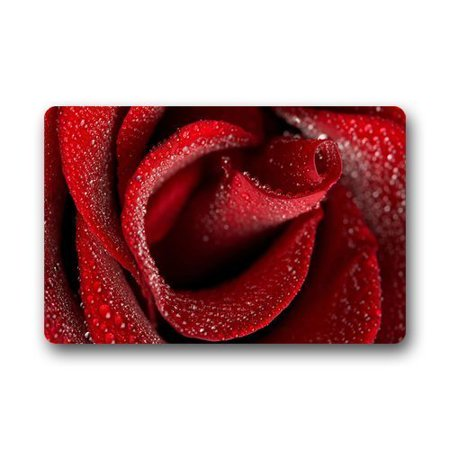 WinHome Beautiful Rain Drops On Red Rose Flower Doormat Floor Mats Rugs Outdoors/Indoor Doormat Size 23.6x15.7 inches ()